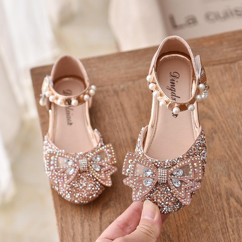 AliExpress - Children Fashion Sandals Bow Rhinestone Girls Princess Leather Shoes Kids Summer Elegant Party Dance Sandals 2021 New E610