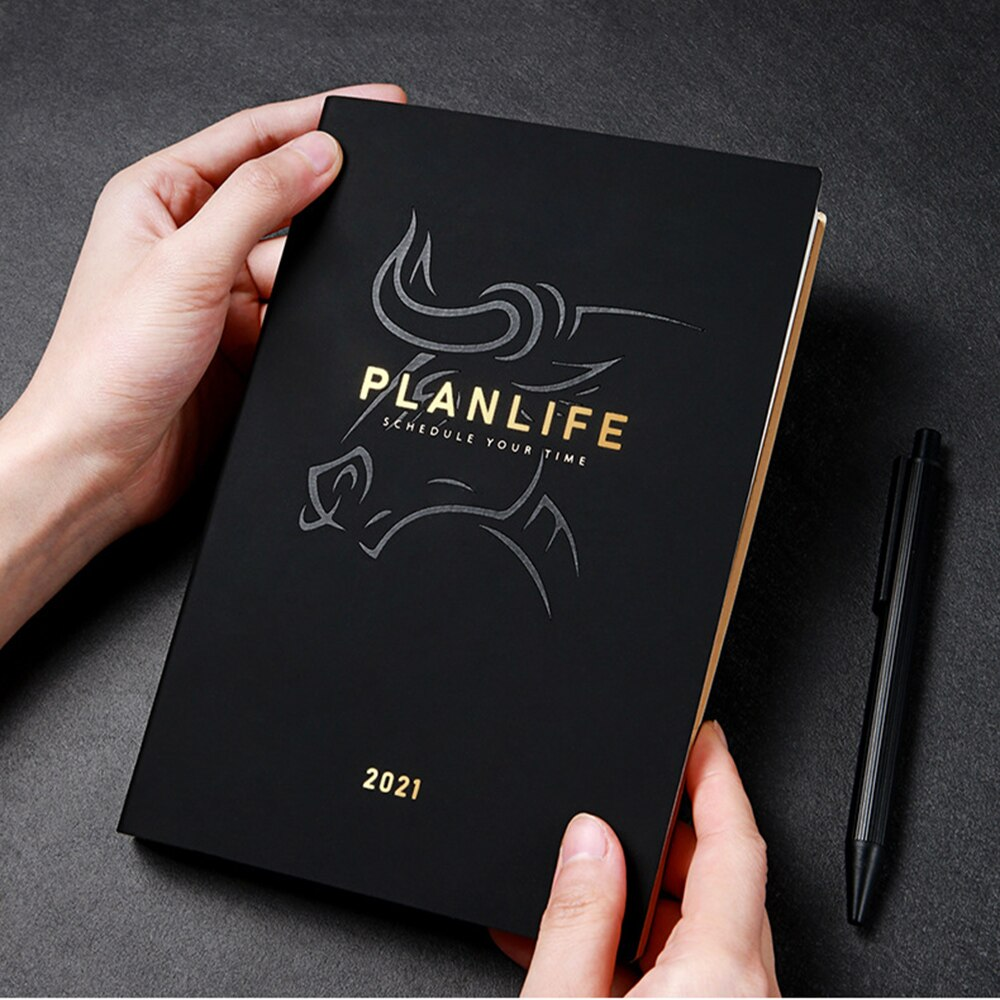 Agenda 2021 Planner Organizer A5 Diary Business Notebook with Pen Weekly Monthly Journal Black Daily Note Book Travelers Notepad 2021 planner agenda organizer a5 weekly diary notebook deer journal monthly plan notepad wonderful daily note book stationery