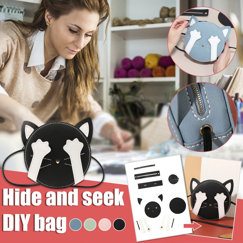 Women's bags over the shoulder Ladies Fashion Novelty Innovation DIY Material Kit Homemade Cartoon Cat Bag borse da donna A40