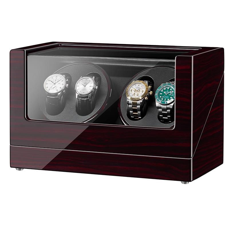 JQUEEN Ebony выпечка отделка Автоматическая Quad 4 + 0 Часы моталки с двойной тихий Mabuchi двигатели 5 режимов работы