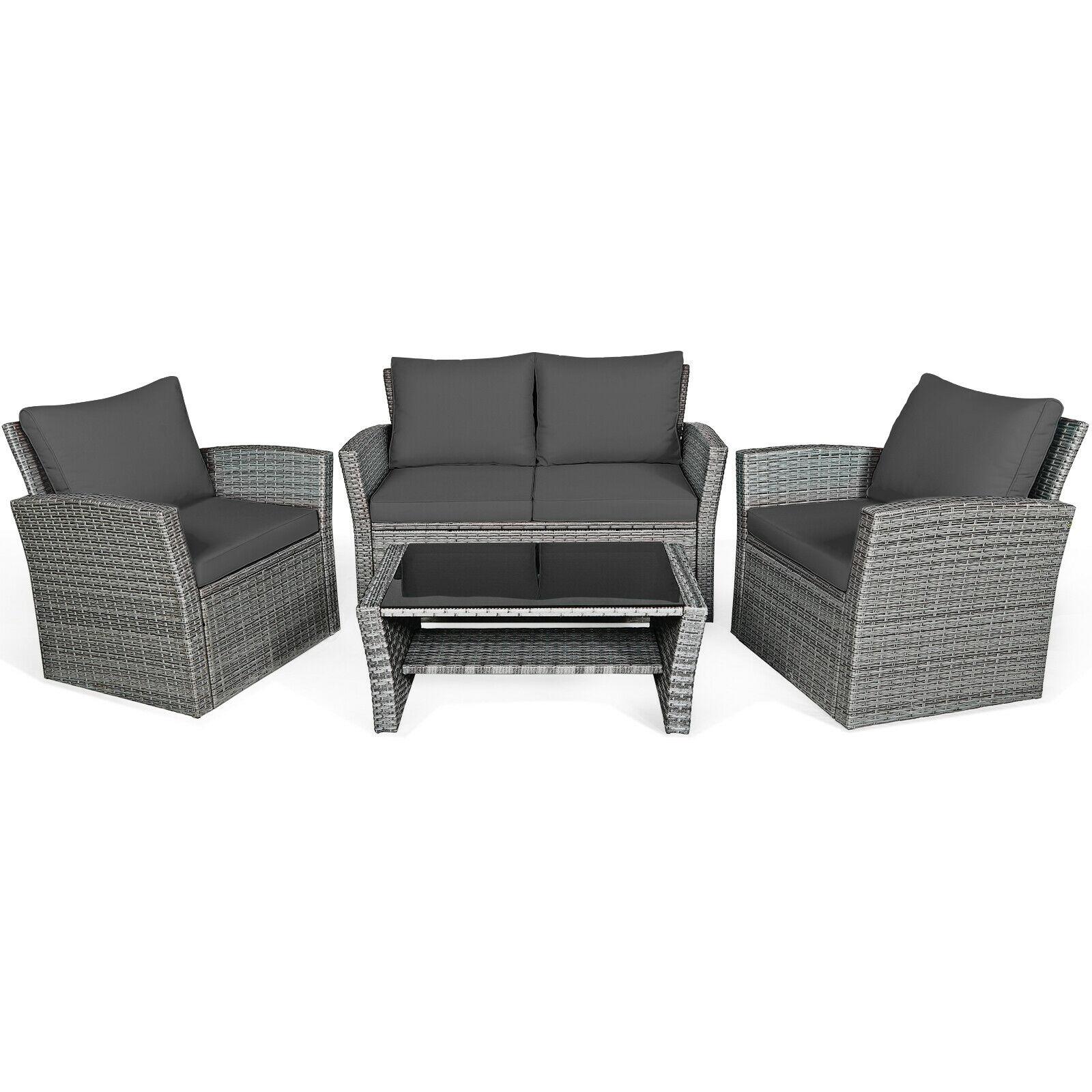 4PCS Patio Rattan Furniture Set Sofa Table W/Storage Shelf Turquoise/Red/Gray