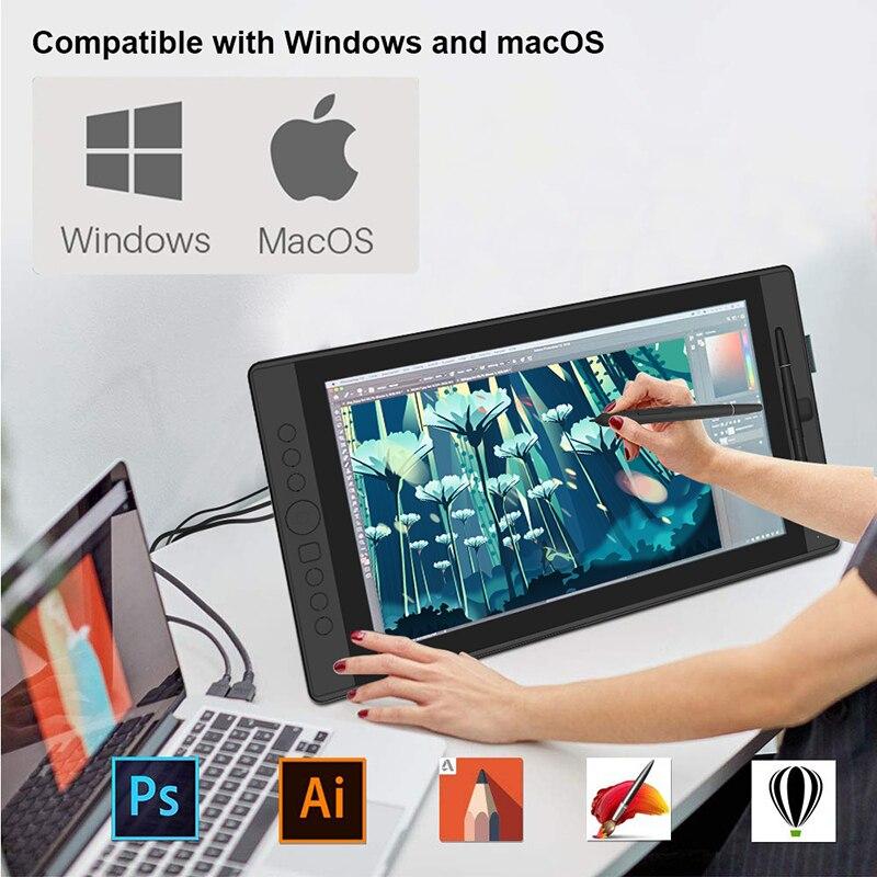 Huiyou desenho tablet gráfico monitor digital caneta exibir gráficos com 8192 caneta pressão 178 graus de ângulo visual