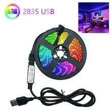 LED bande lumineuse 2835 Flexible lampe bande Diode 1M 2M 3M 4M 5M DC5V 3 clé contrôle bureau écran TV éclairage de fond