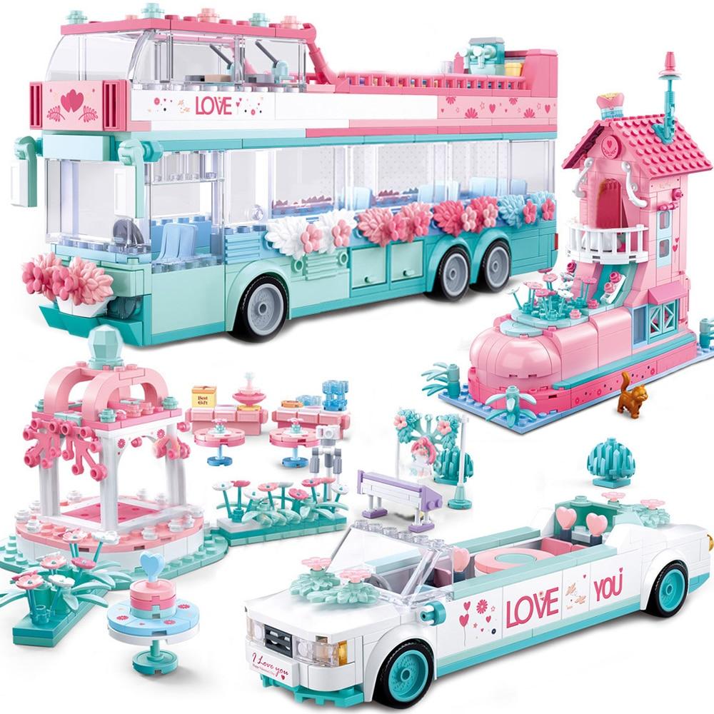Friends tree race car bus Brick Toy Children for girl Princess villa castle Prince City Wedding sets