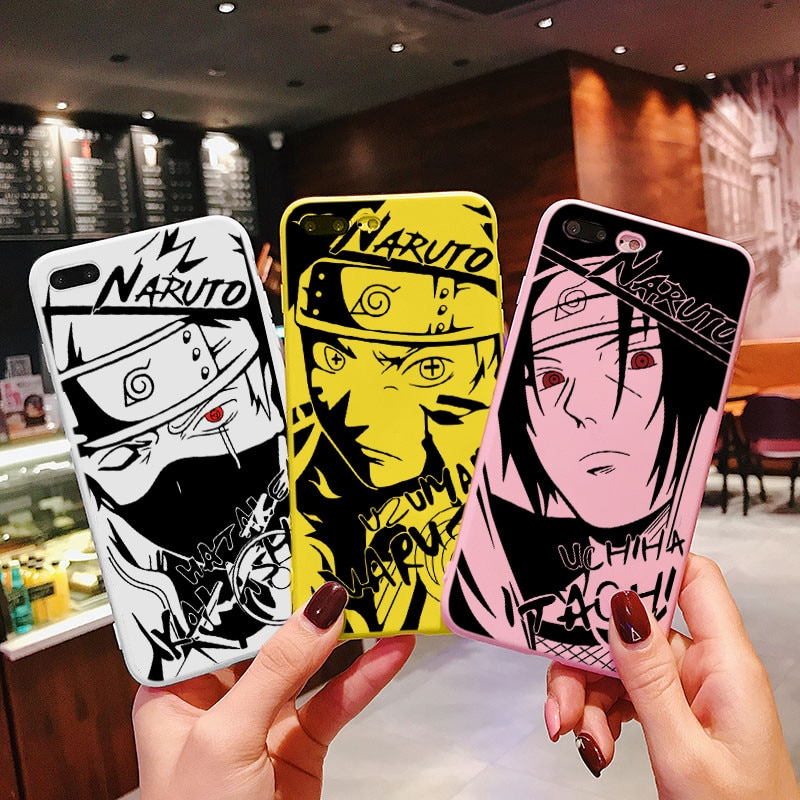 Moda Caso Anime Naruto Para iPhone 5 Alívio 7 8 X XR Plus 6 11 Pro Capa TPU Macio Dos Desenhos Animados Caso de Telefone Coque
