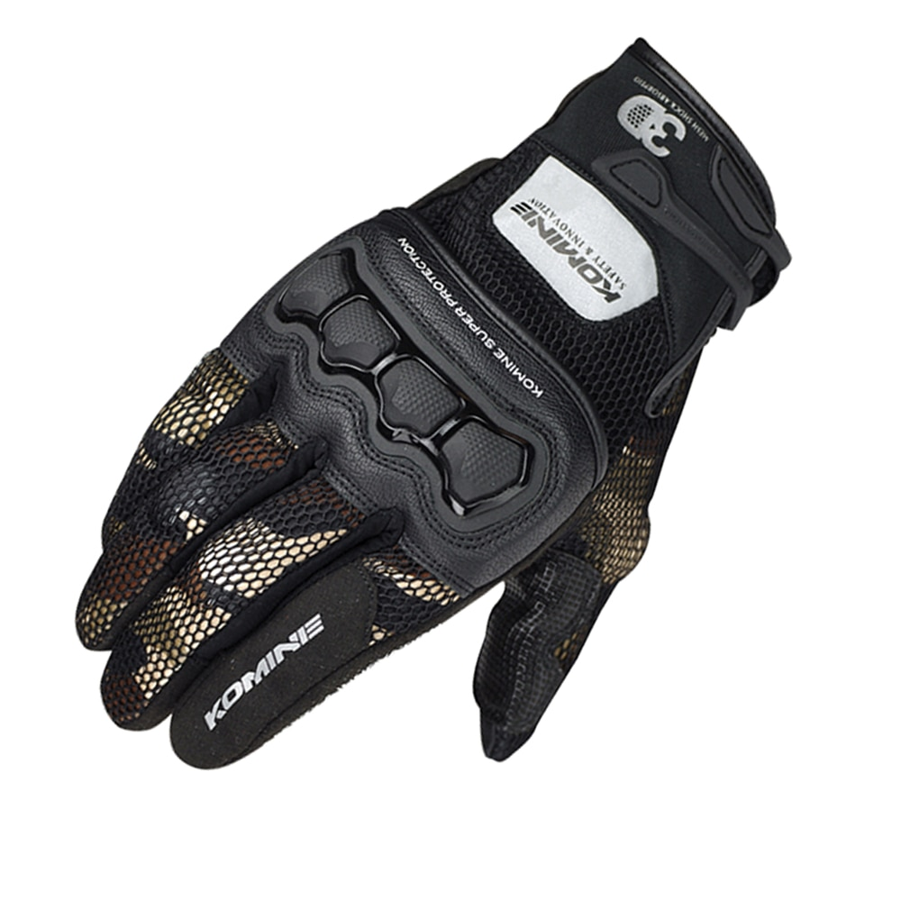 GK-215 de camuflaje marrón Komine, guantes protectores de malla 3D para verano, guantes de Motocross para moto GK 215