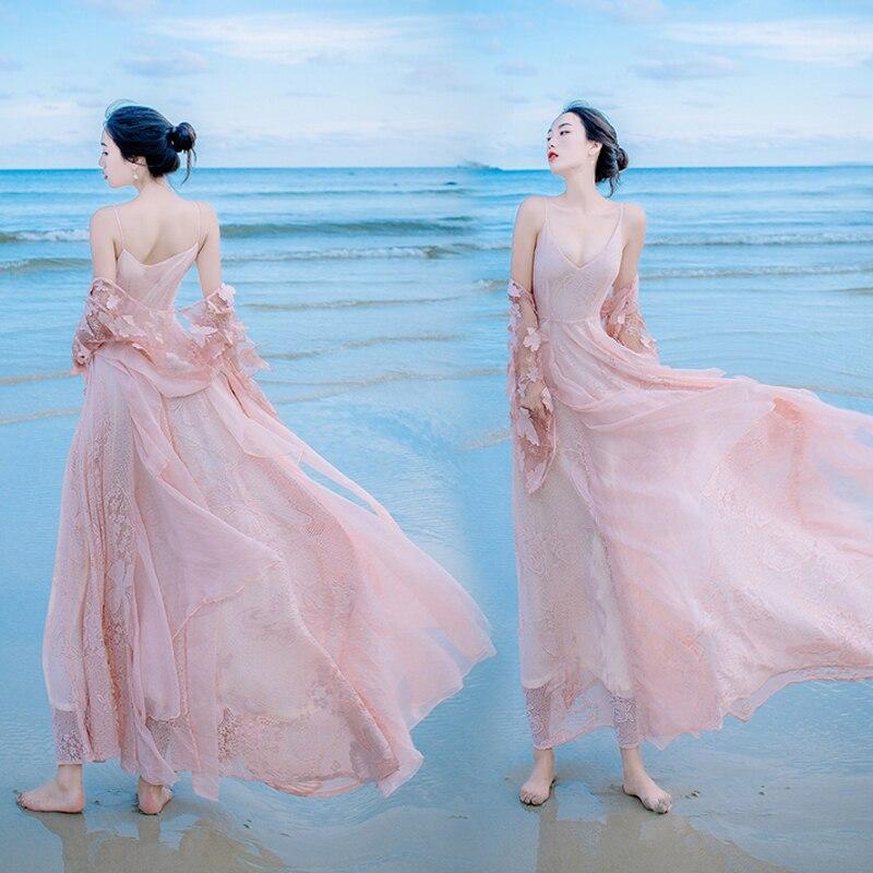 فستان نسائي طويل من الدانتيل من YOSIMI, فستان طويل مطرز باللون الوردي مناسب للربيع موضة 2020