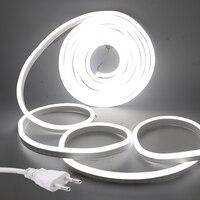 Светодиодные ленты ЕС 220V Неон Flex Веревки светильник Водонепроницаемый открытый светильник ing 2835 120 светодиодов/m лента гибкий светодиодный ...