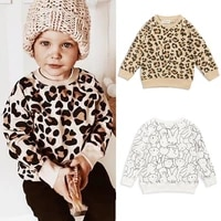 kids top baby girls sweatshirts children clothes toddler cartoon leopard print sweaters fashion kids long sleeve o neck pullover