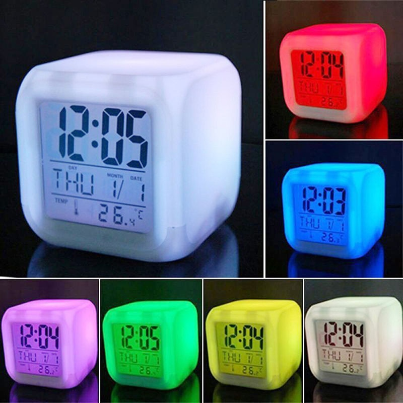 Cube Led Clock LED Alarm Clock 7 Colors Changing Digital Desk Gadget Thermometer Night Glowing Watch