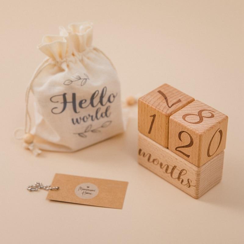 1 Набор детских ежемесячных записей рост веха блок Деревянный ребенок Фотография реквизит фото веха новорожденный подарок сувенир
