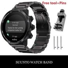 Clássico aço inoxidável pulseira de relógio pulseiras & ferramentas cinta 24mm para suunto 9 7 baro suunto d5 spartan esporte pulso hr/baro