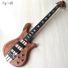 5 cordes zebrawood haut cou par professionnel actif guitare basse électrique 43 pouces solide okoumé bois corps basse guitare