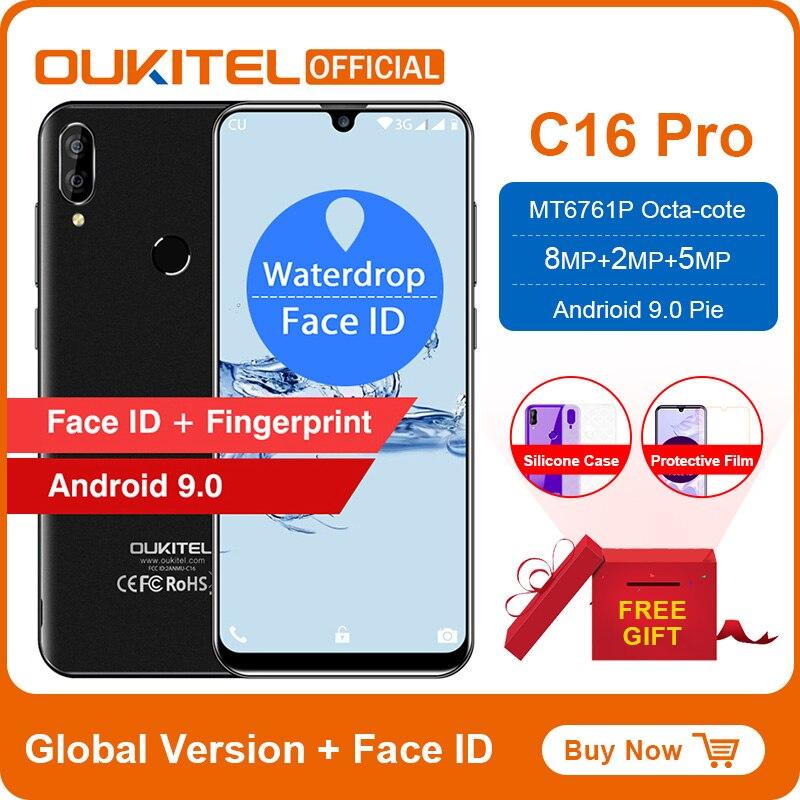 "OUKITEL C16 5,71 ""HD + 199 de agua inteligente huellas digitales Android 9,0 teléfono móvil MT6580P 2G RAM 16G ROM 2600mAh desbloquear"