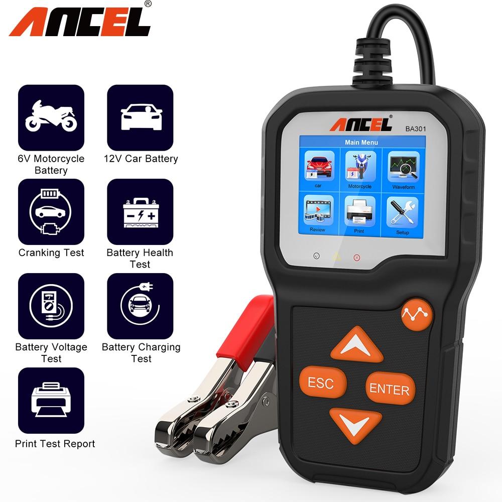 Ancel ba301 testador de bateria carro para 6v motocicleta testador de bateria 12v analisador carro 100 a 2000 cca bateria testador pk kw650