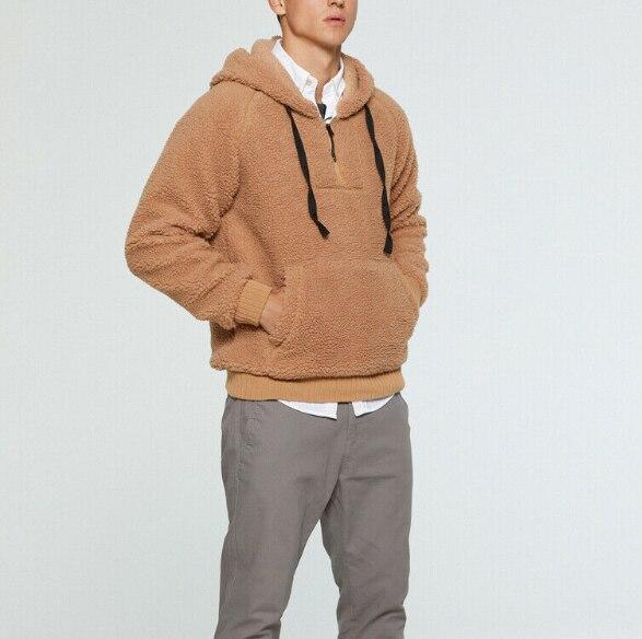 Mens Winter Fleece Fur Sweatshirts Long Sleeve Hooded Hoodies Loose Top Sweatshirt Outwear Warm Soft Coat Jacket Red Blue Khaki