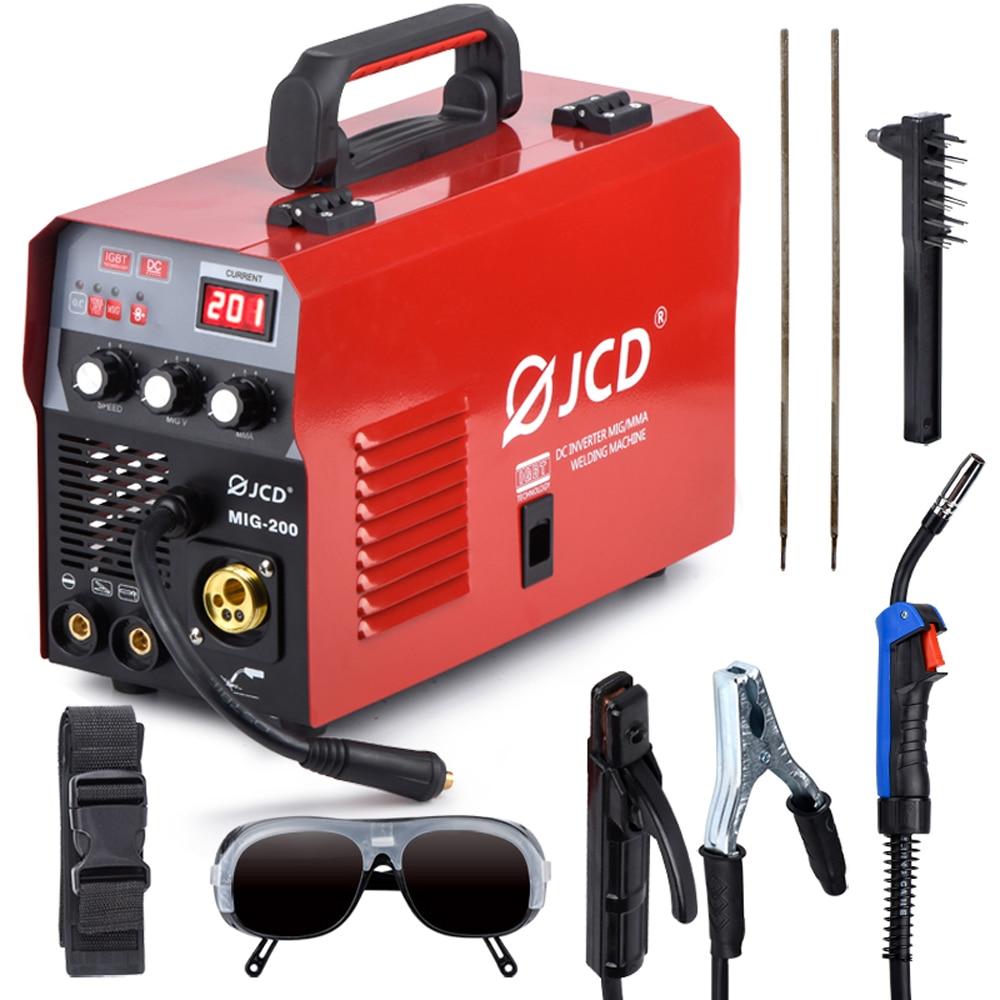 JCD 220V Mig Welder IGBT Smart MMA Stick DC Inverter 200/160A Arc Welder with Digital LCD Display for Beginner Welding Machine