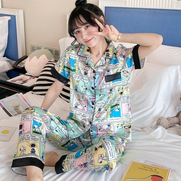 NOVEDAD DE VERANO 2020, Conjunto de pijama a la moda para mujer, pijama de seda de manga corta con pantalones largos de 2 uds., pijama de noche holgado y cómodo para mujer
