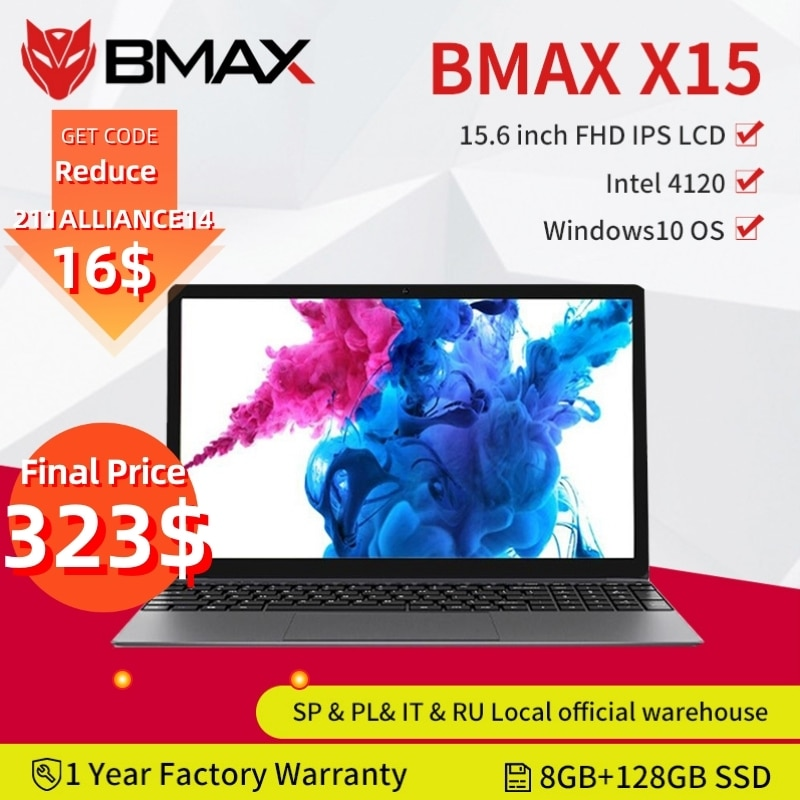 BMAX X15 15.6 Inch Laptops Windows 10 1920*1080 Intel Gemini Lake N4120 Quad Core 8GB RAM 128GB SSD