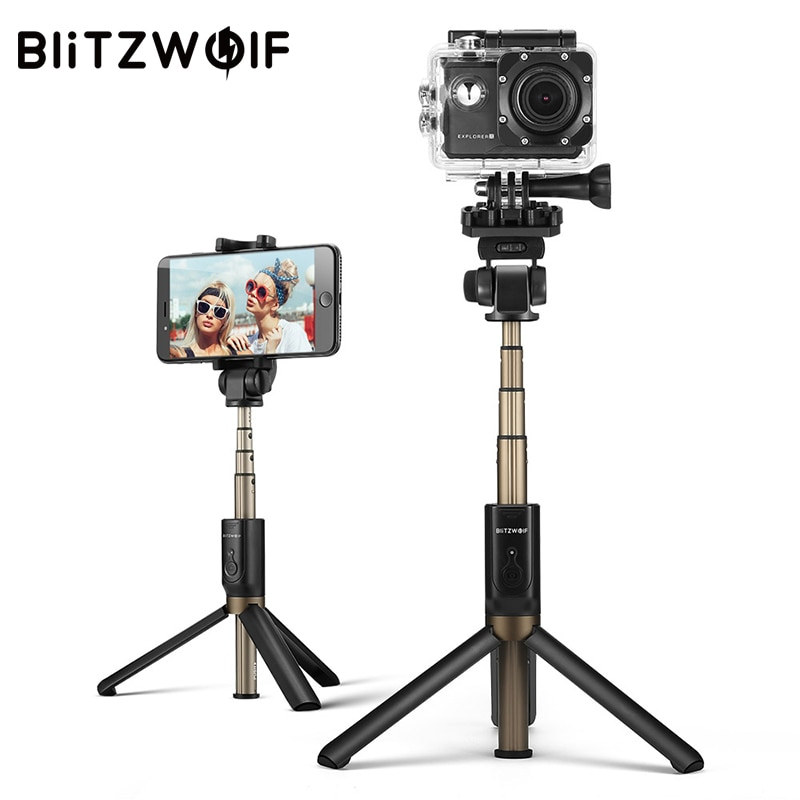 BlitzWolf BW-BS3 الرياضة بلوتوث Selfie عصا للتمديد طوي اللاسلكية Monopod ترايبود ل Gopro 8 7 6 Osmo العمل ل Xiaomi