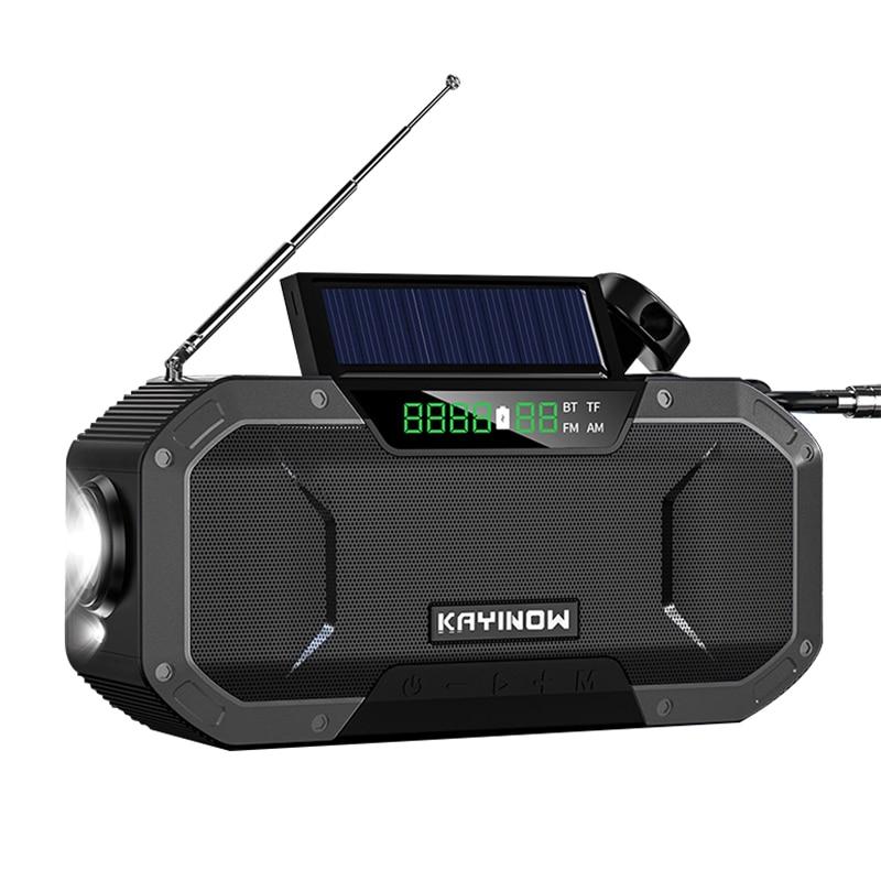 Portable Bluetooth Speaker 360 Stereo Sound Waterproof Wireless Solar Hand Crank FM Radio 5000mAh Power Bank Charger Flash Light