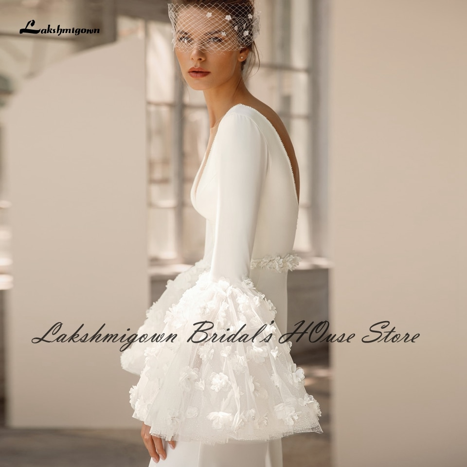 Lakshmigown Sexy Backless Bridal Robe Puffy Long Sleeve Satin Wedding Gowns 2022 Plunging Floral Mermaid Wedding Dresses