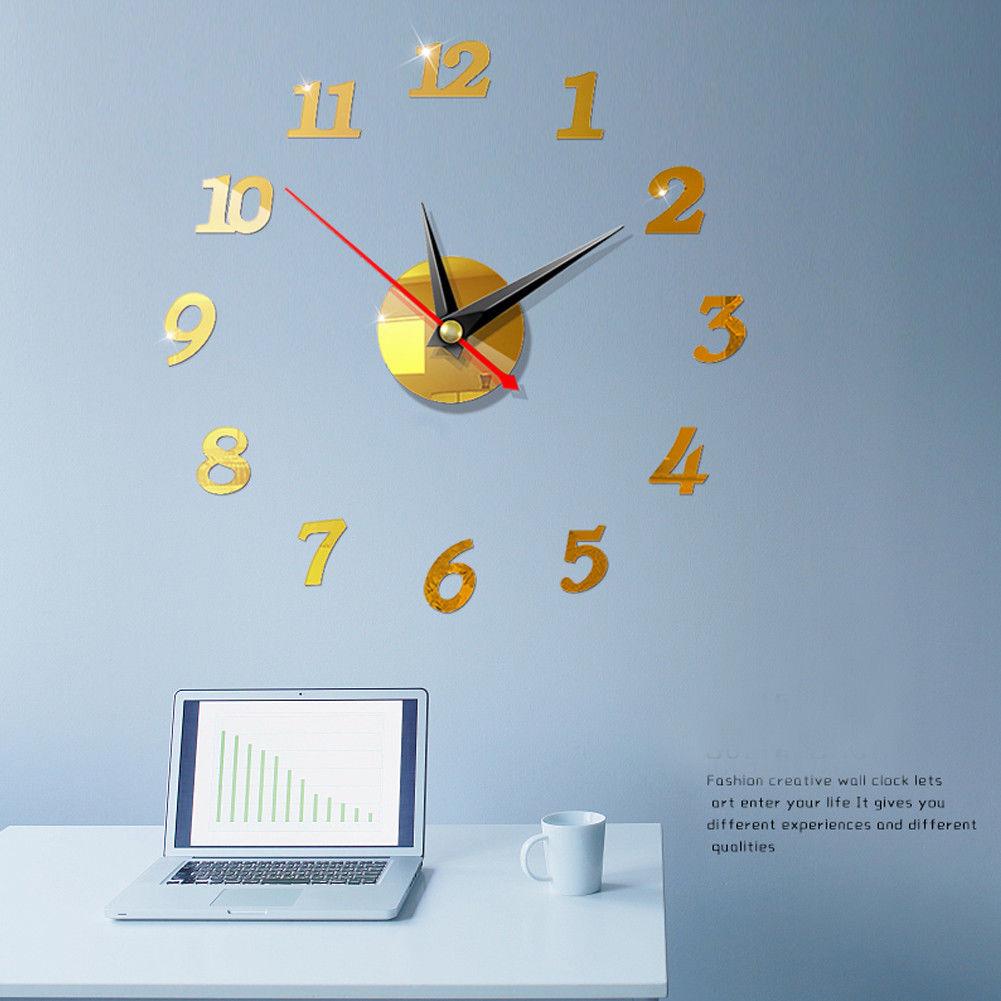 Modern Large Wall Digital Clocks 3D Mirror Sticker Unique Big Number Watch Art 3D DIY Acrylic Decor For Home Office Kids Room