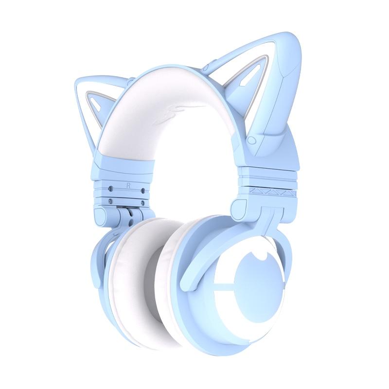 Yowu-auriculares inalámbricos con diseño de gato para juegos de ordenador, audífonos con...
