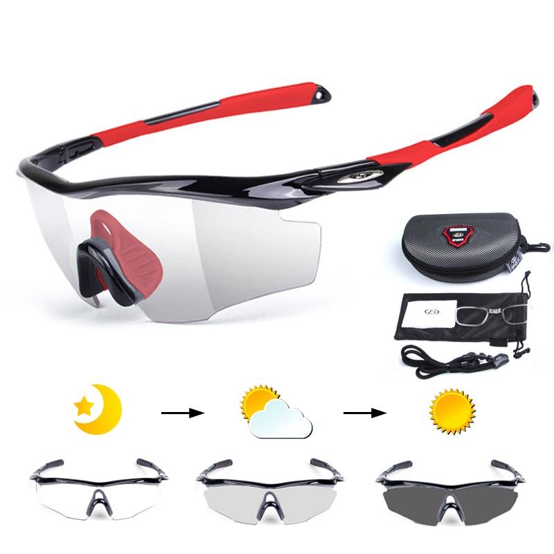 5 pçs/set Photochromic Ciclismo Bicicleta Óculos de Bicicleta Óculos de Miopia Quadro Das Mulheres Dos Homens óculos de Sol Óculos de Desporto Ao Ar Livre MTB