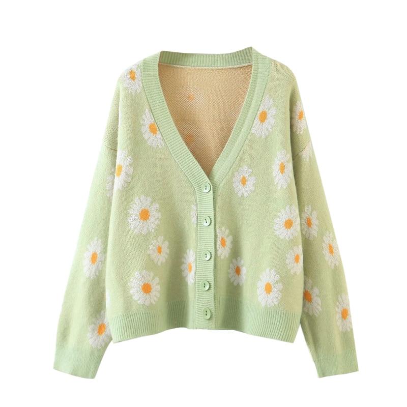 Y2K Cute Flower Pattern Cardigan Sweater Long Sleeve V-neck Knitted Top Women Autumn Spring E-girl Vintage Clothing Streetwear