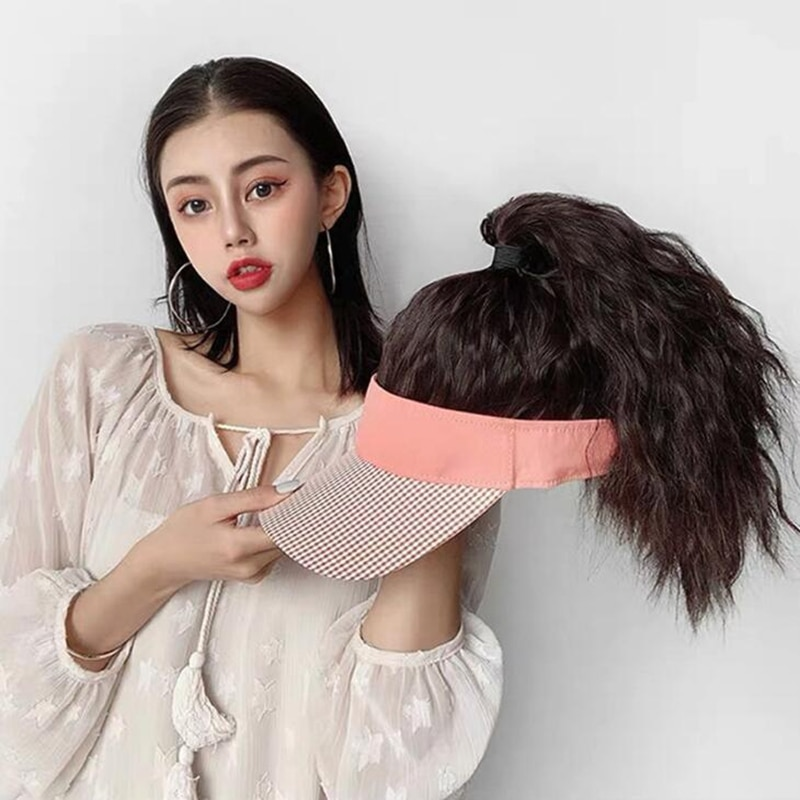 Hat Wig Hat Hair Extension Corn Hot Synthetic Hair High Ponytail Long Curly Hair Woman Headgear Fluffy Whole Wig Female Wearing