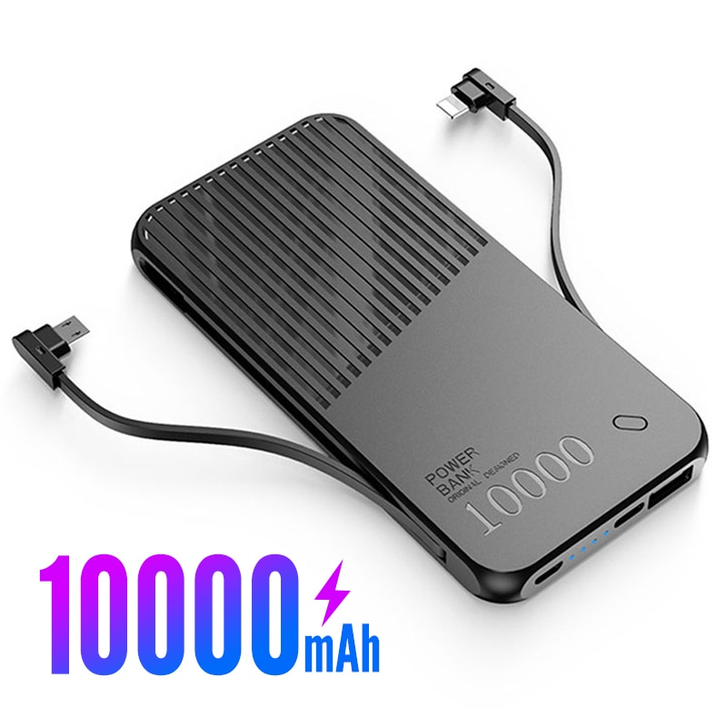 AUFU Portable Power Bank 10000mAh Charging Poverbank Mobile Phone External Battery Charger Powerbank for Xiaomi Built in Cables