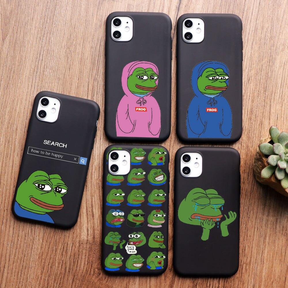 PUNQZY divertido La Rana Pepe cara llanto feliz pareja teléfono caso para iPhone 11 pro MAX XR XS MAX X 5S 6S 7 8 Plus negro TPU funda
