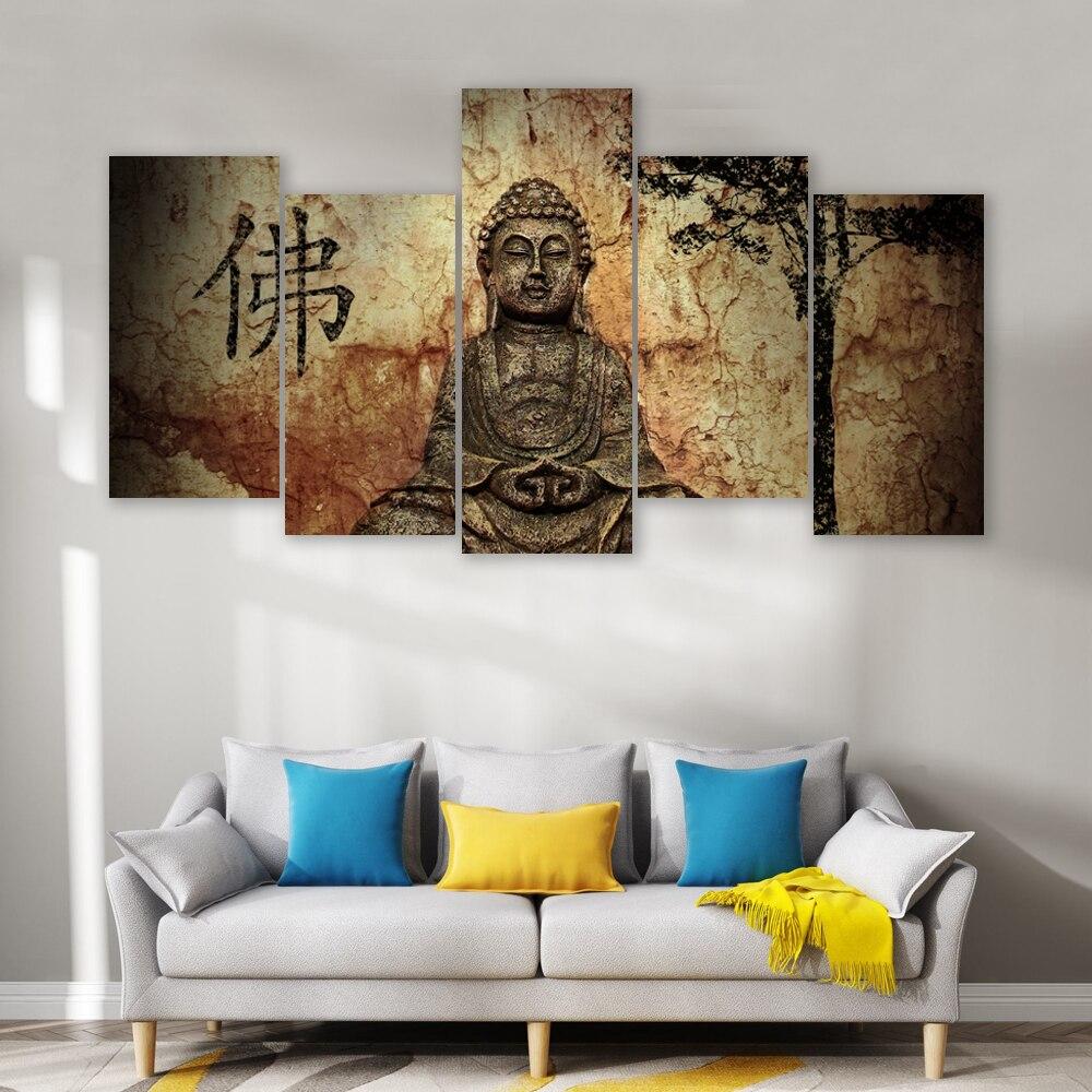 CAPICS 5 4 3 1 paneles enmarcados lienzo clásico budismo estatua de Buda arte de impresión HD listo para colgar pared arte casa sala de estar