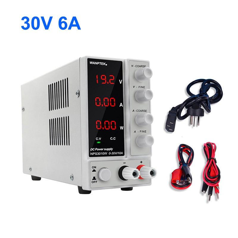 Nps306w laboratório comutação variável fonte de alimentação ajustável dc banco fonte digital tensão estabilizador 30 v 6a para telefone pc