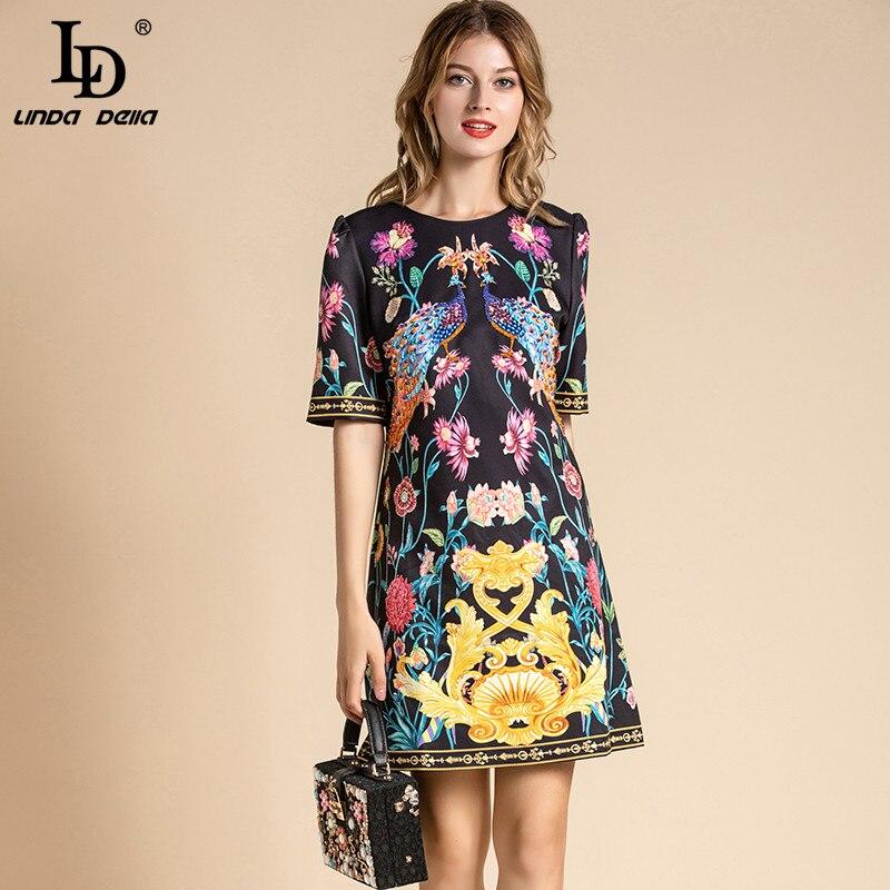 Ld linda della elegante designer vestido de verão feminino manga curta animal floral impressão miçangas solto vestido vintage