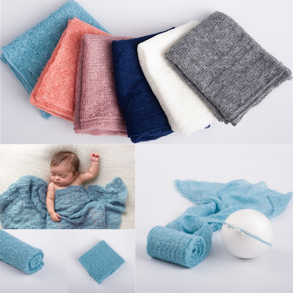 40X150CM Newborn Photography Props Multifunctional Soft Mohair Wraps for Baby Photo Shoot Pearl Headdress Prop Accessories newborn photography props mohair knit wraps backdrops set stretchy blanket for baby photo shoot accessories fotografia acessorio