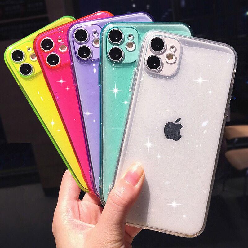 Сияющий Блестящий Флуоресцентный цветной чехол для телефона для iPhone 11 Pro Max XR XS Max X 7 8 Plus Защита камеры мягкий прозрачный чехол