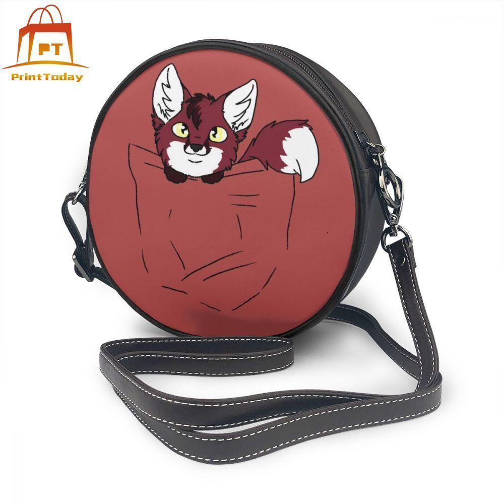 Mini bolso de piel de zorro, Mini bolso de piel de zorro, bolsos de mujer de alta calidad, bolso cruzado con patrón para adolescentes, bolso redondo