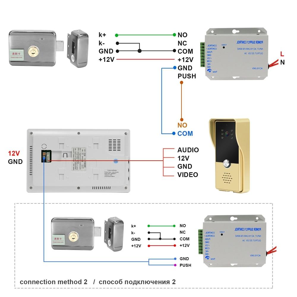 Wired Video Doorbell with Lock Door Intercom 7 Inch Video Door Phone Monitor Doorbell RFID Electronic Lock Access Control System enlarge