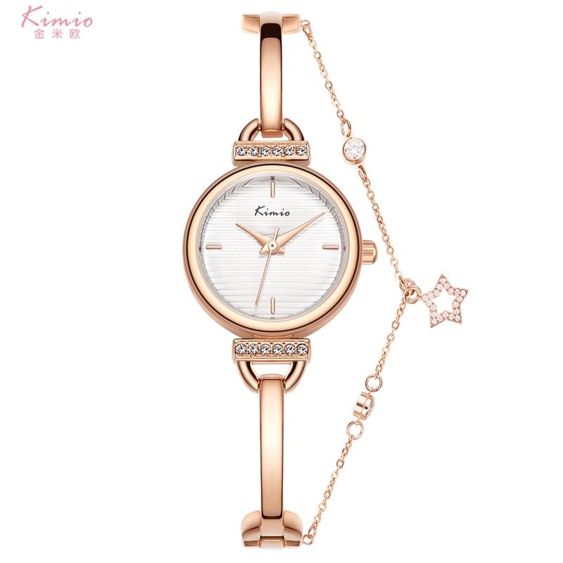 ساعة Kimio و الأساور النسائية الماس هندسية زجاج سوار فاخر مجموعة ساعات السيدات عادية كوارتز ساعة اليد ساعة 2020