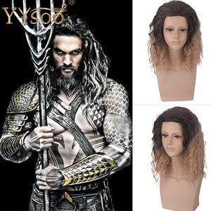 YYsoo Short Man Cosplay Wavy Bob Black Blonde Wigs Short Curly Male Hair Shoulder Length Ombre Golden Gradient Movie Cospaly Wig