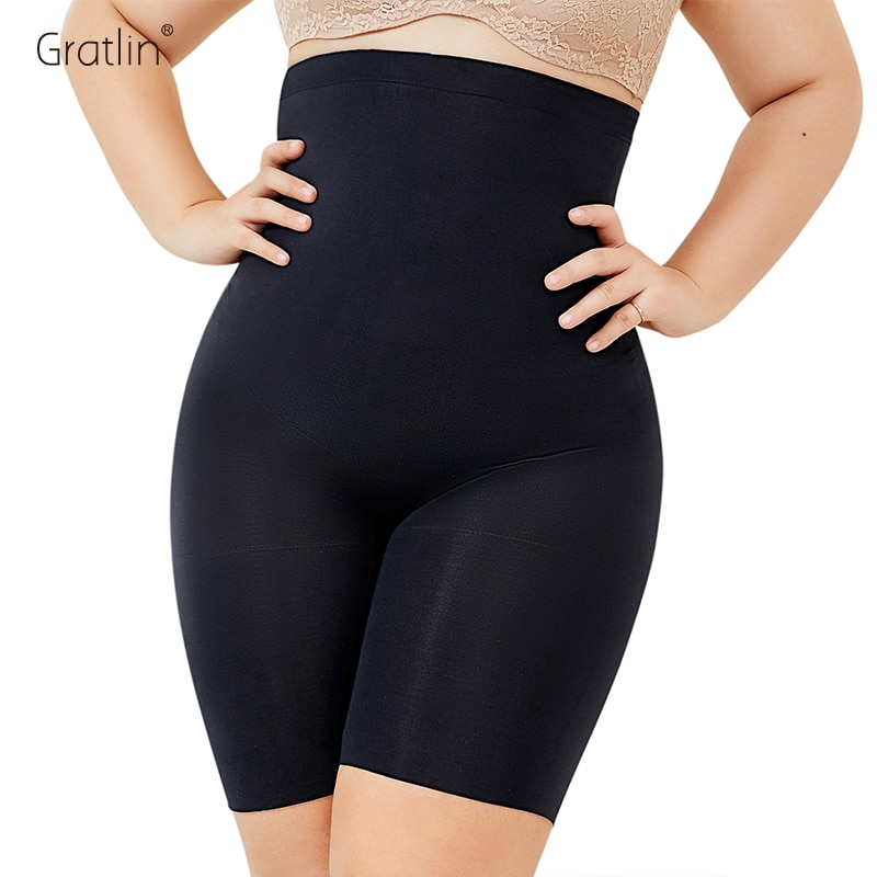 Women's Plus Size High Waist Control Panties Shapewear Thigh Slimmer For Prenancy