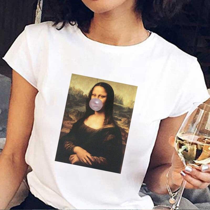 Nueva camiseta estampada de manga corta de Mona Lisa para verano del 2019, camiseta divertida con estampado de chicle y goma de mascar de estatua Harajuku, camiseta de talla grande