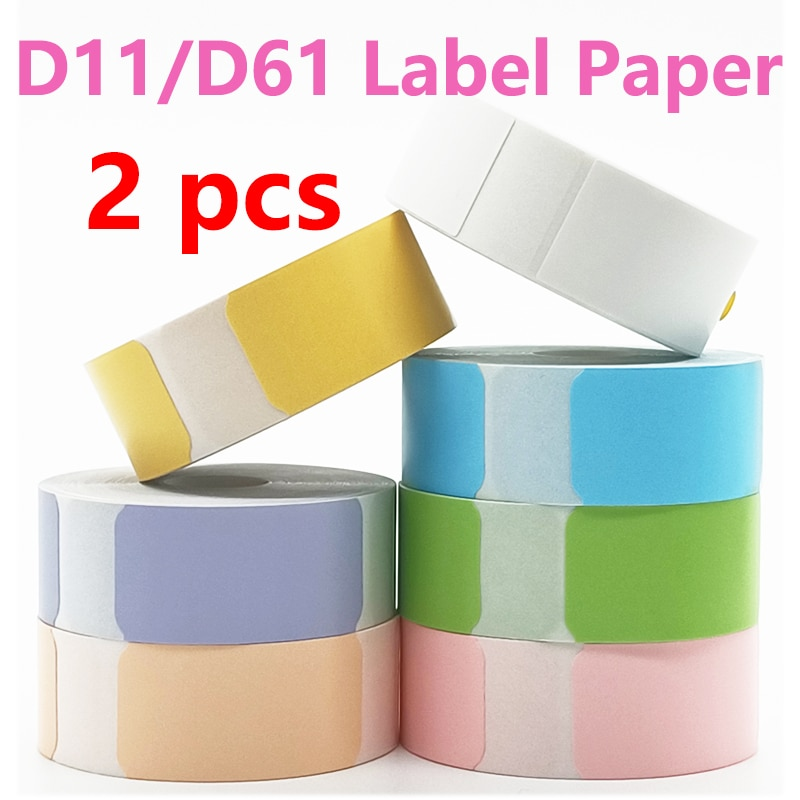 2 Pack D11 Thermal Label Paper Niimbot D61 Mini Label printer paper Supermarket Waterproof Anti-Oil Price Label Pure Color Label mini label printer paper printing label waterproof anti oil price label pure color scratch resistant label sticker r50