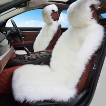 Funda de asiento de coche de piel de oveja Natural de 2 uds., funda de asiento delantero de 3 colores para coche peugeot 206 para coche volvo s40 para coche ix25