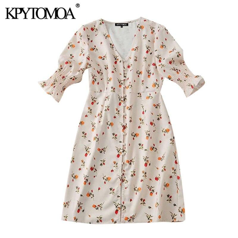 Kpytomoa vestido estampa floral botões, feminino, vintage, decote em v, manga curta, 2020