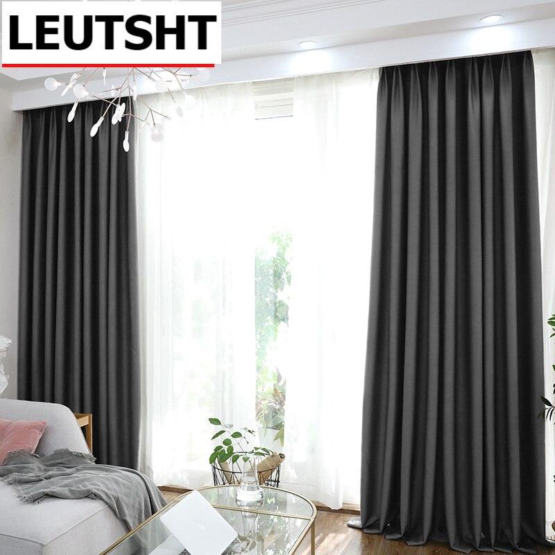ستائر التعتيم باللون الرمادي لغرفة المعيشة وغرفة النوم ستائر عازلة للحرارة معالجة النوافذ ديكور المنزل