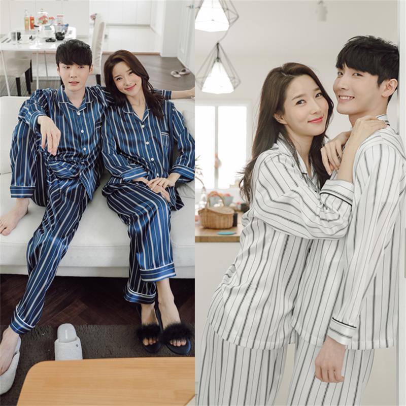 بدلة منزلية للرجال والنساء كورية موديل 2021 مصنوعة من الحرير المقلد والموضة الجديدة ذات قصة ضيقة وأكمام طويلة