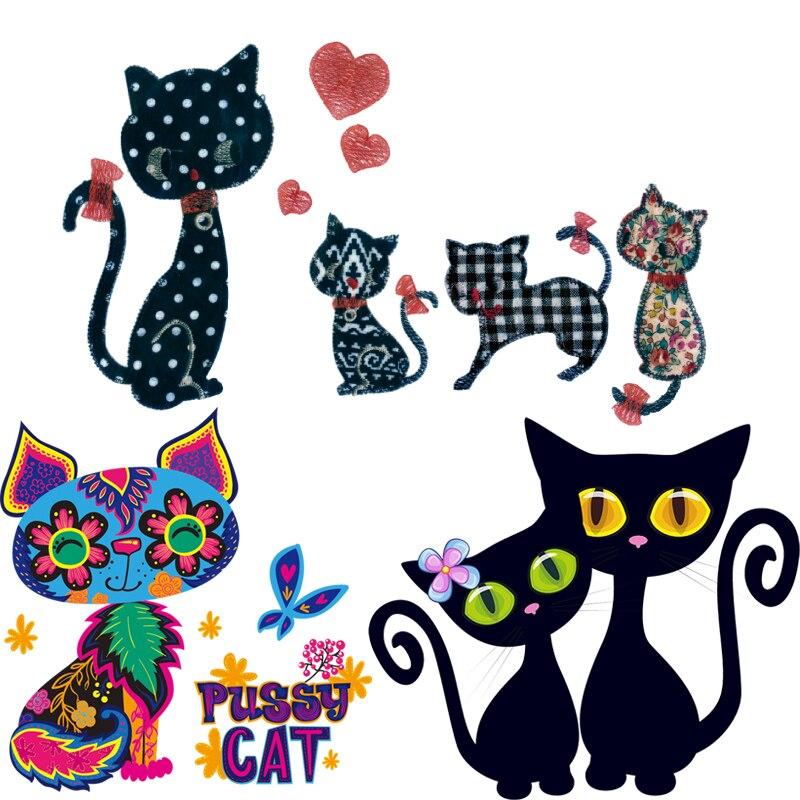 Parches de hierro con diseño de gato para ropa, parches de transferencia de calor con rayas, aplicaciones de planchado, pegatinas térmicas DIY, apliques de animales